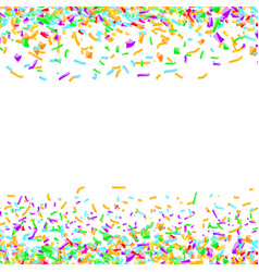 bright colorful confetti layout over white vector image vector image