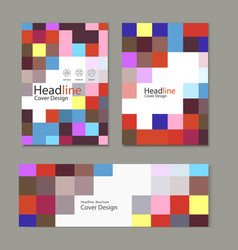 brochure template design with squares and vector image