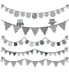Bunting owl with banner vector