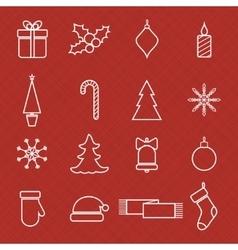 Christmas line icons set for web and holidays vector image