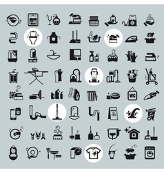 Cleaning tools icons black cleaning icons set vector