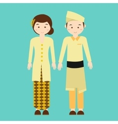 Couple wear malaysia malaysian traditional clothes vector