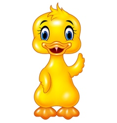 Cute baby duck hand waving isolated vector image vector image
