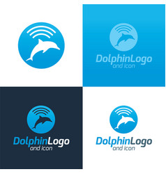 dolphin logo and icon vector image