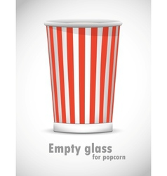 Empty glass for popcorn vector image vector image