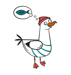 Funny cartoon seagull dreaming vector
