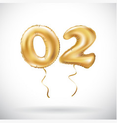 Golden number 02 zero two metallic balloon party vector
