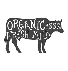 Hand Drawn Farm Animal Cow Organic Fresh Milk vector image
