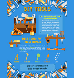 house repair tool and carpentry equipment poster vector image