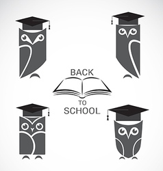 image of an owl with college hat and book vector image vector image