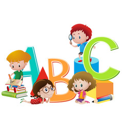 kids and english alphabets vector image vector image
