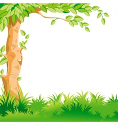 landscape with a large tree vector image