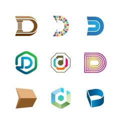Letter D logo set Color icon templates design vector image vector image