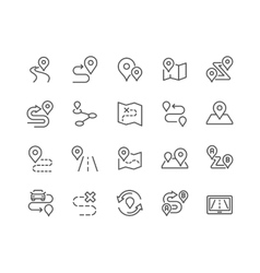 Line route icons vector