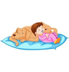 Little girl sleeping with pet dog vector