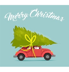 Merry christmas card with fun holiday car design vector