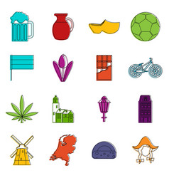 netherlands icons doodle set vector image