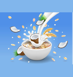 Oatmeal with coconut milk pouring in a bowl vector