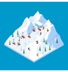 Piste Ropeway Isometric Landscape vector image vector image
