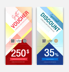 portrait colorful and modern discount voucher or vector image