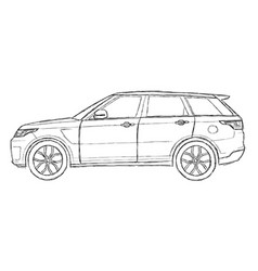range rover sport sketch vector image