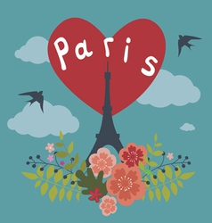 Romantic design with Eiffel Tower in Paris vector image vector image