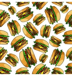 Seamless fast food double cheeseburgers pattern vector