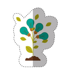 sticker of plant stem with leaves and incandescent vector image vector image