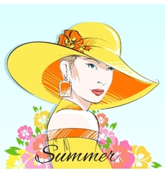 Summer fashion girl in yellow hat vector