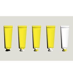 Tubes for packaging yellow set vector