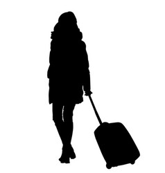 Woman silhouette with trolley vector
