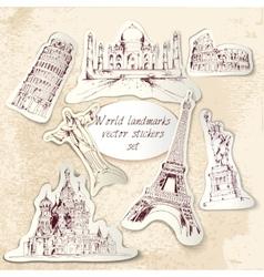 World landmark stickers vector