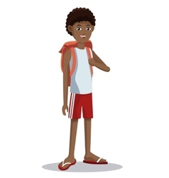 Young boy tourist backpack shorts vector