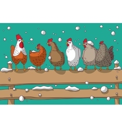 Winter group chicken snow and sky vector