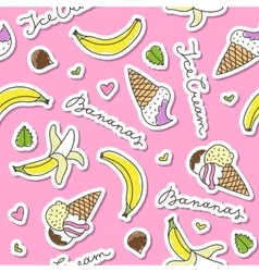 Bananas and ice cream cones vector