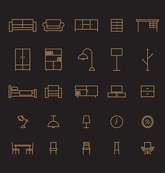 Set of furniture outline icon vector