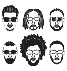 Bearded african men hipsters with different vector