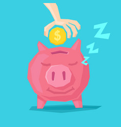 A happy piggy bank and hand vector