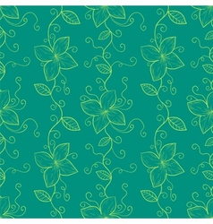 Vertical stylized flowers and leaves branch vector image