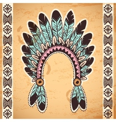Tribal native american feather headband vector