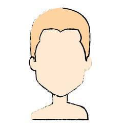 Young man shirtless avatar character vector