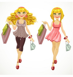 Blond with shopping bags vector