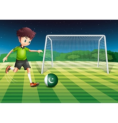 A male player kicking the ball with the flag of vector image