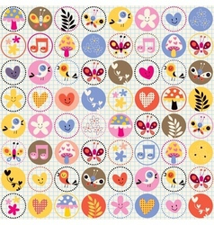 Cute flowers birds hearts pattern vector
