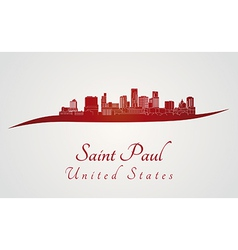 Saint paul skyline in red vector