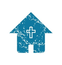 Grunge christian house icon vector