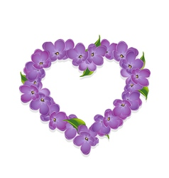 Floral heart with lilac flowers vector