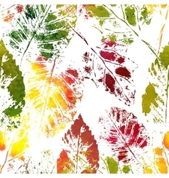 Autumn colorful leaves imprints vector