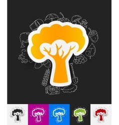 Tree paper sticker with hand drawn elements vector