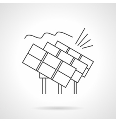 Solar power station flat line icon vector